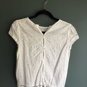 Divided Tops - White eyelet crop top H&M Sz 8